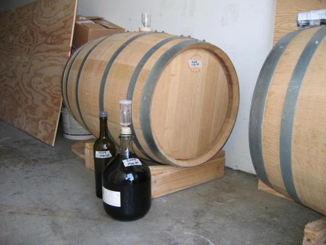 Merlot barrel and spare wine